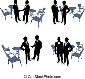 businessman and businesswoman meeting