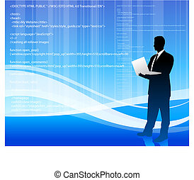 computer programmer on blue wave internet background -...