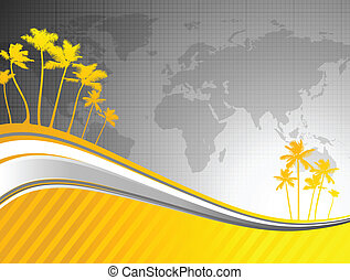 palm trees on world map background