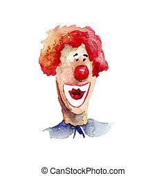 originální, barva vodová, ilustrace, s, klaun