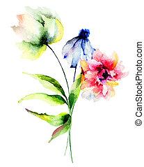 originální, barva vodová, ilustrace, s, květiny