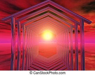 origin - home shape on sunlight background