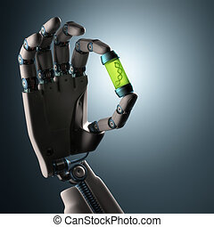 Origin Of Life - Robotic hand holding a test tube with a dna...