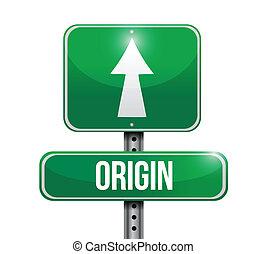 origin road sign illustration design over a white background