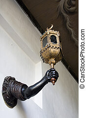Original lamp with arm holiding lantern from 18th century