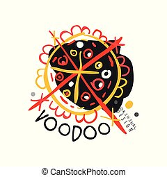 Original abstract colorful Voodoo magic logo template design. Traditional religion and culture. Hand drawn mystical vector illustration