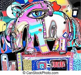 original abstract digital painting of decorative elephant