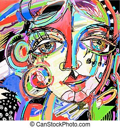 original abstract digital painting of human face, colorful compo