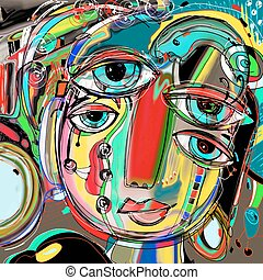 abstract digital painting of human face, colorful composition in