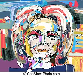 original abstract digital painting of woman face