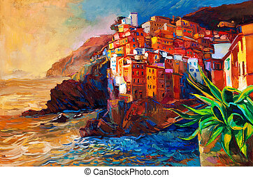 Original abstract oil painting of a village on The Cinque Terre coast on the Italian Riviera. Modern Impressionism