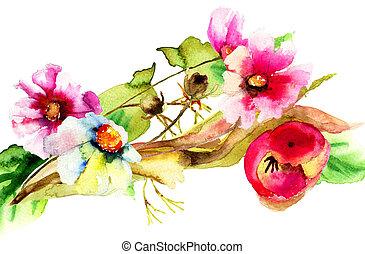 original, acuarela, ilustración, con, flores