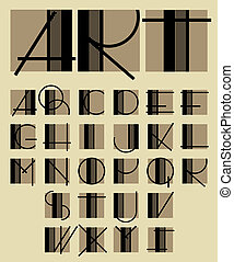 original, alfabet, enastående, design, samtidig
