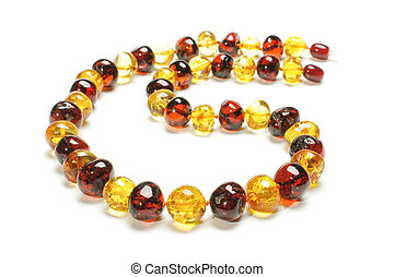 Original amber necklace isolated on
