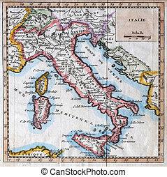 original antique Italy map - colored XVIIIth century Italy ...