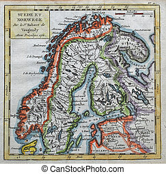 original antique Sweden and Norway map