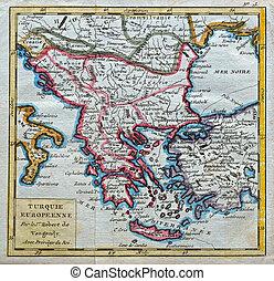 original antique Turkey and Greece map