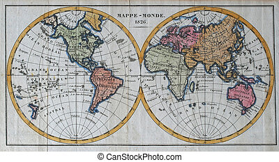 original antique world map - colored vintage world map