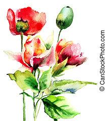 original, aquarell, abbildung, mit, blumen