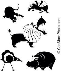 Original art animal silhouetts