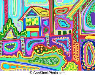 original artwork of decorative rural landscape with houses...