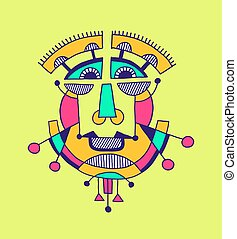 original avantgarde geometric composition of man person face