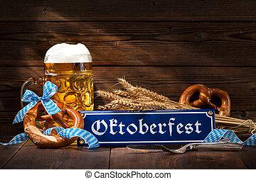 Original bavarian pretzels with beer stein on wooden board....