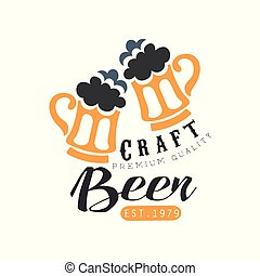 Original black and orange logo template with two mugs of beer with foam. Alcoholic beverage. Vector design for bottle label or brewing company