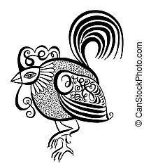 original black and white line art rooster calligraphy drawing