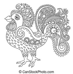 original black and white line art rooster drawing, page of color