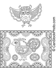 original black and white line drawing page of coloring book bird