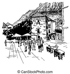 sketch drawing of Kotor street - famous place in Montenegro