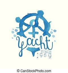 Original blue emblem for yacht club. Hand drawn illustration...