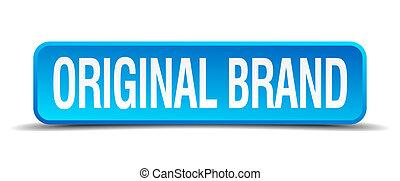 original brand blue 3d realistic square isolated button
