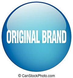 original brand blue round gel isolated push button
