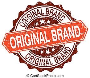 original brand orange round grunge stamp on white