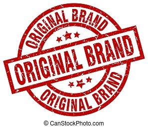 original brand round red grunge stamp
