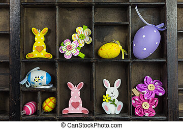 vintage type case with easter decoration