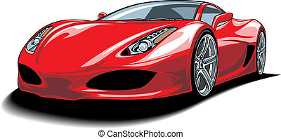 beautiful red car isolated on white background