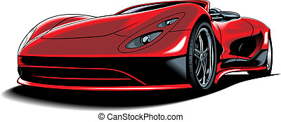 original car design - beautiful red car isolated on white...