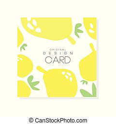 Original card template with lemons. Citrus fruit concept. Organic food. Healthy nutrition. Colorful vector design for product label or packing sweets