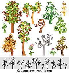 Original Cartoon Tree, Flower, Plant
