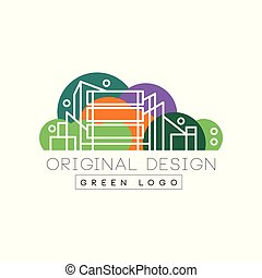 Original city logo design with high-rise buildings in linear style. Colorful nature background. Entertainment center. Isolated flat vector label for business company