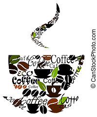 Coffee cup made of various captions, cups and beans. Vector illustration