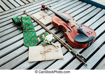 original, cufflinks, em, a, forma, de, um, violino, tecla, mentira, ligado, um, violino