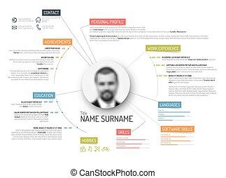 Original cv / resume template - Vector original minimalist...