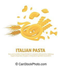 Original delicious exquisite Italian pasta on promotional poster