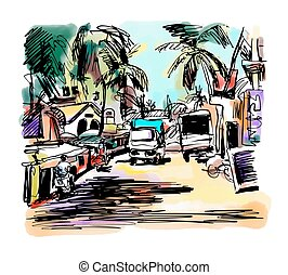 original digital drawing of India Goa Calangute Baga...