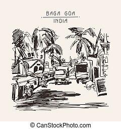 original digital drawing of India Goa Calangute Baga landscape