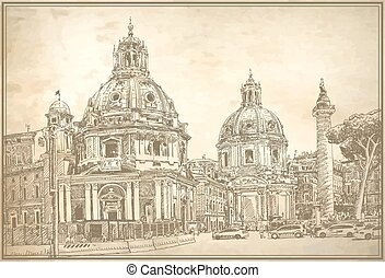 original digital drawing of Rome Italy cityscape for your travel card design on old paper background, basilica sketch, vector illustration